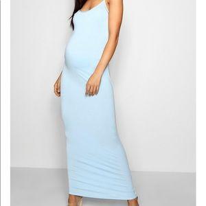 Baby blue maternity maxi dress